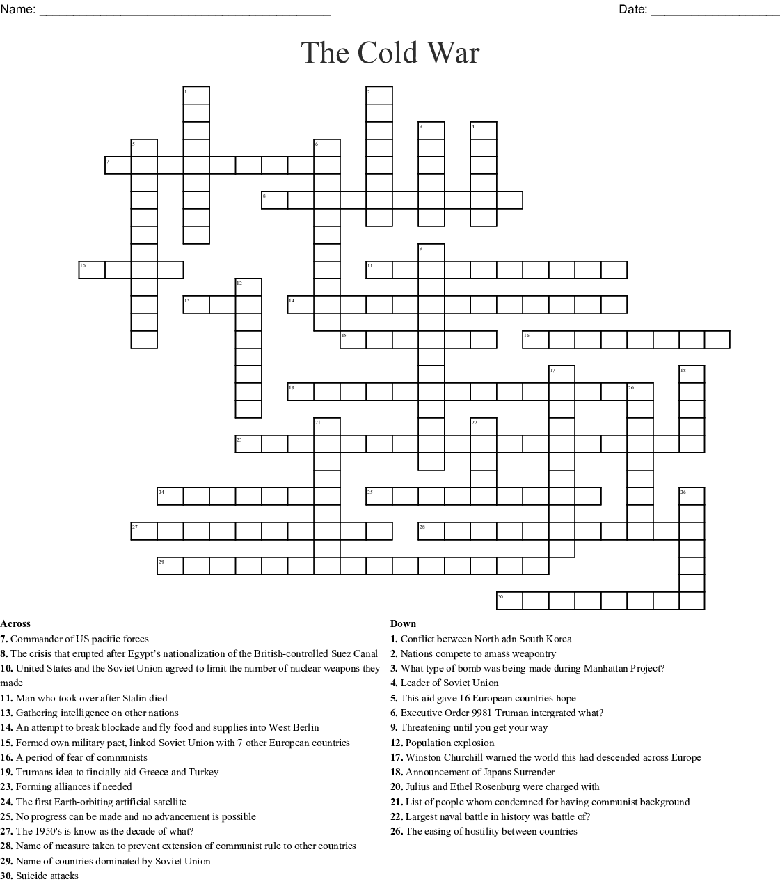 Cold War Crossword Puzzle Printable