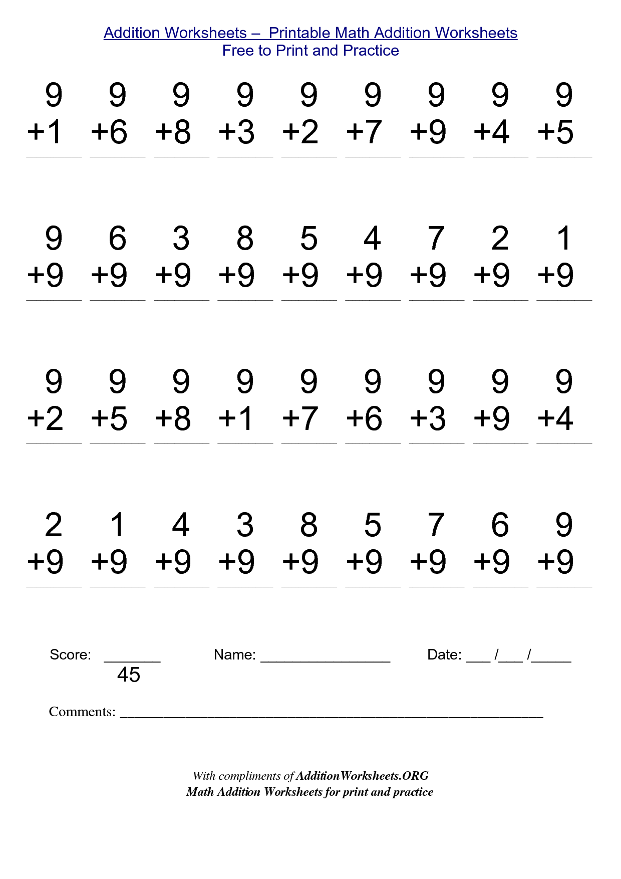 Printable Math Addition Worksheets