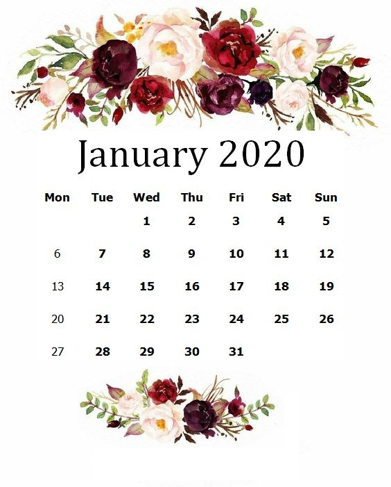 January 2020 Calendar - Printable Template Hub