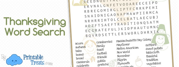 Thanksgiving Word Search for Kids Printable  Printable Treatscom