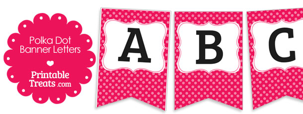 Pink Polka Dot Banner Letters A M Printable