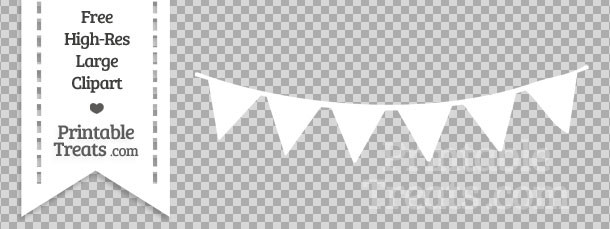 White Pennant Bunting Banner Clipart