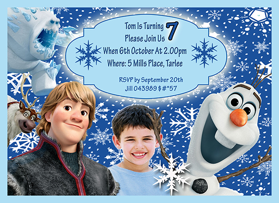 boys frozen themed birthday invitation