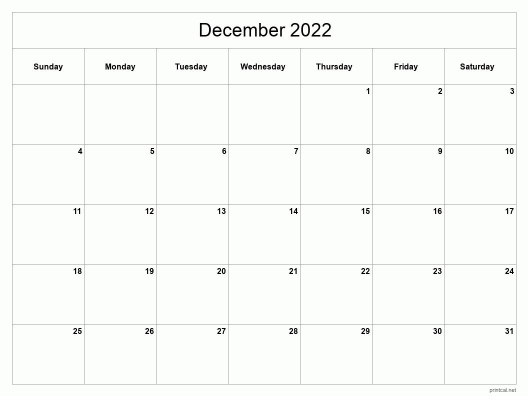 Printable December 2022 Calendar - Classic Blank Sheet