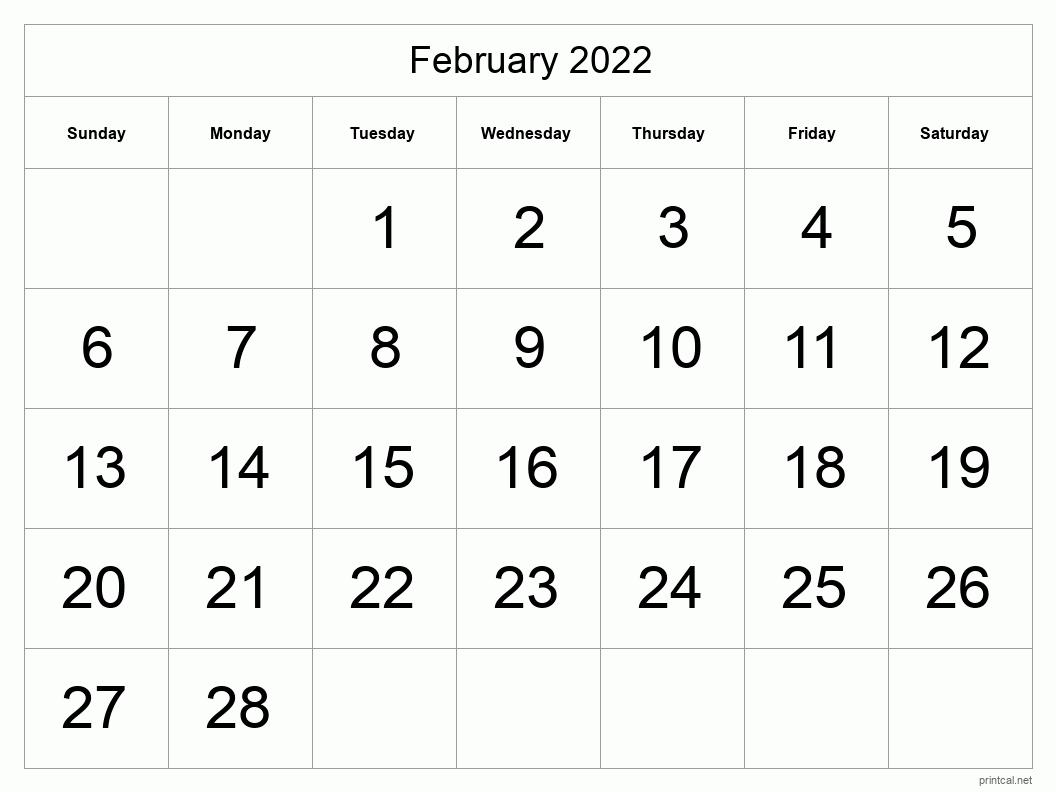 Printable February 2022 Calendar | Free Printable Calendars
