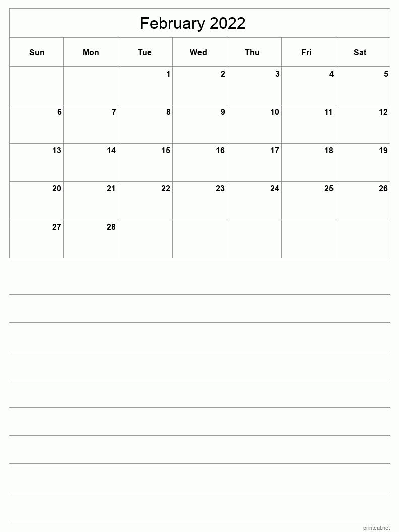 Sure, digital calendars are convenient — we can take them everyw. Printable February 2022 Calendar | Free Printable Calendars