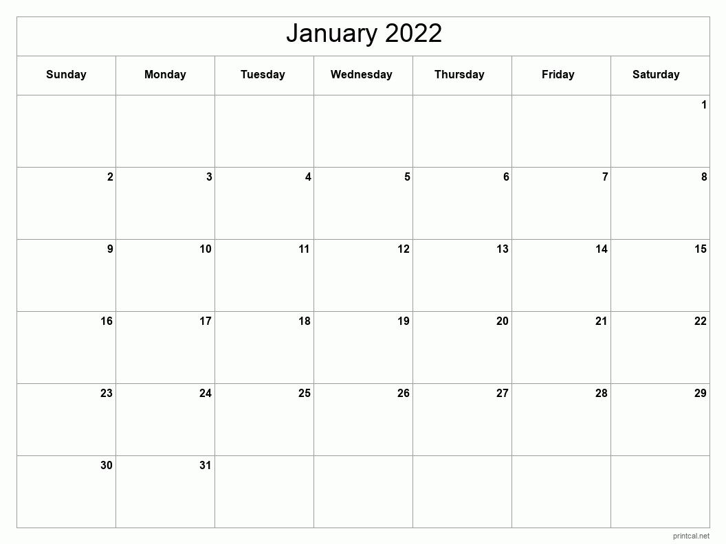 Printable January 2022 Calendar   Free Printable Calendars