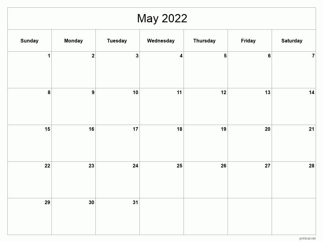 Printable May 2022 Calendar   Free Printable Calendars