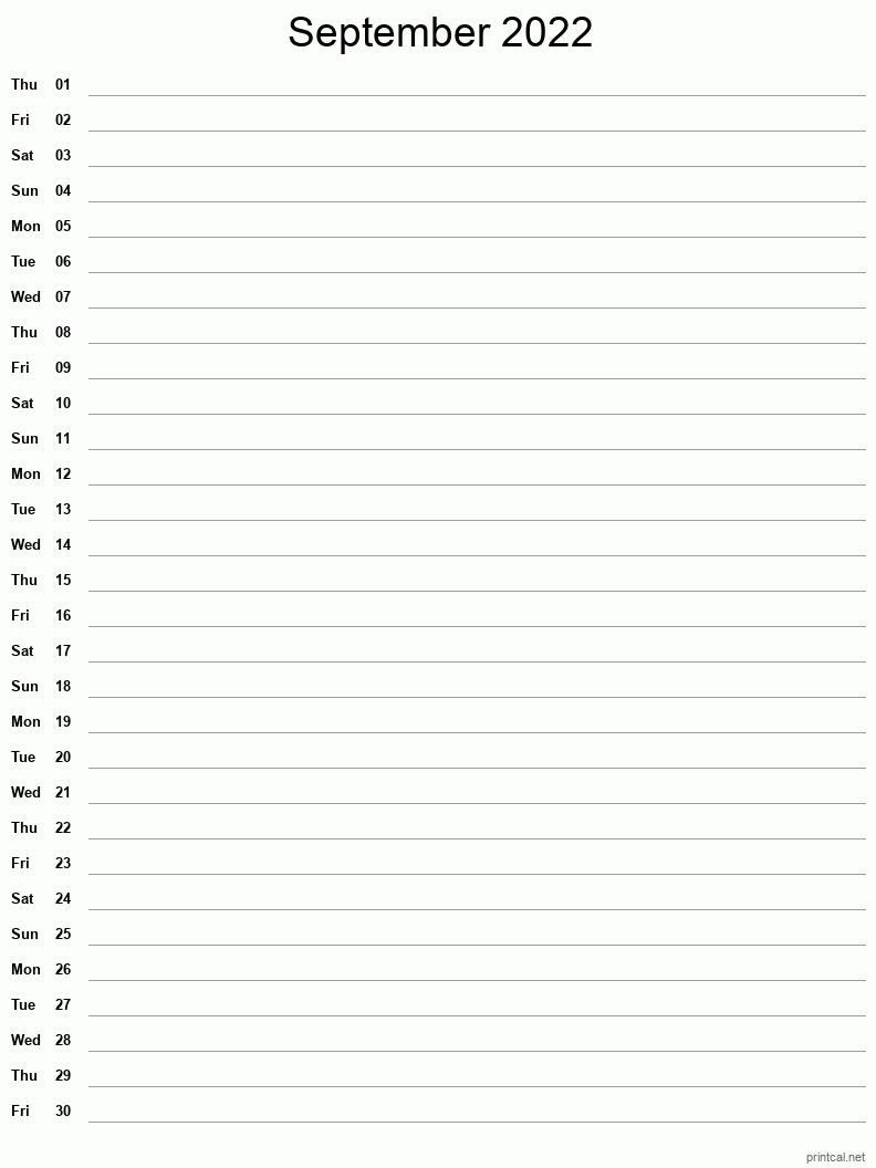 Printable September 2022 Calendar | Free Printable Calendars