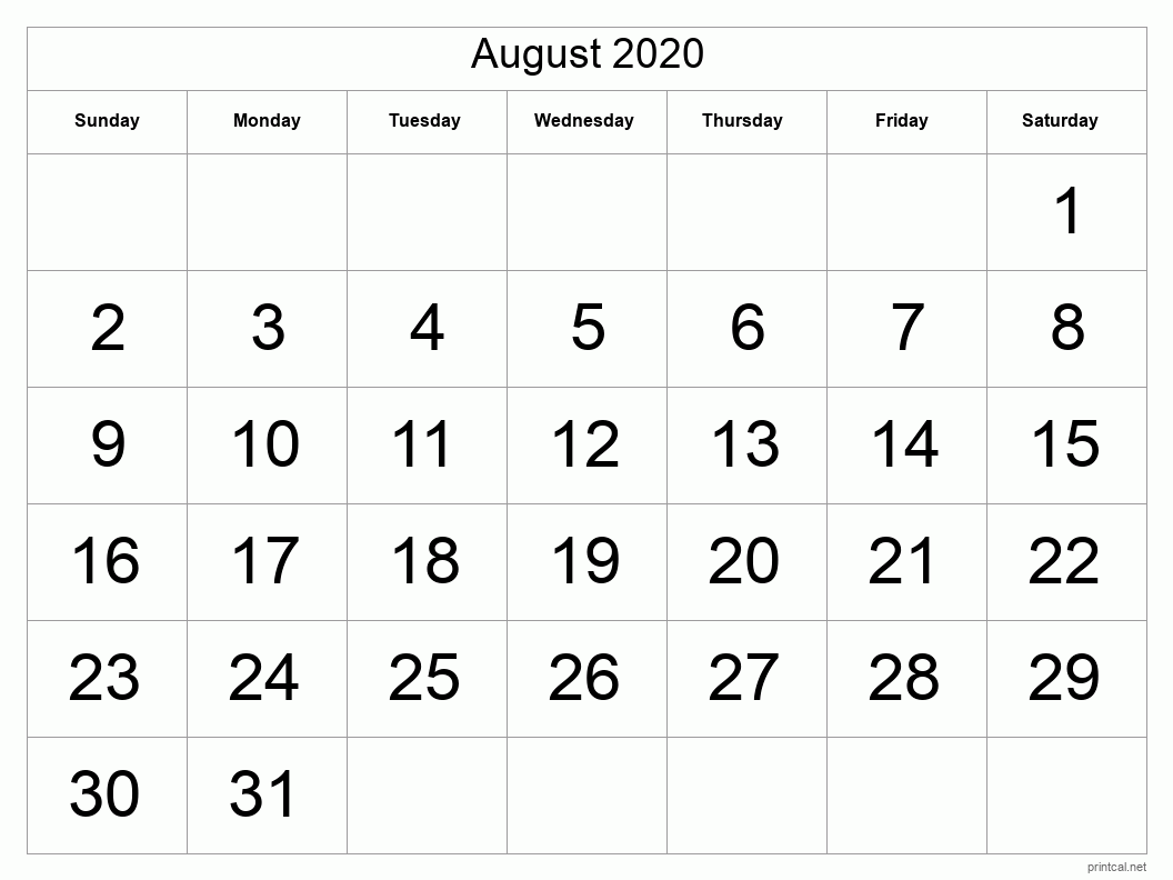 Printable August 2020 Calendar - Template #1 (full-page ...