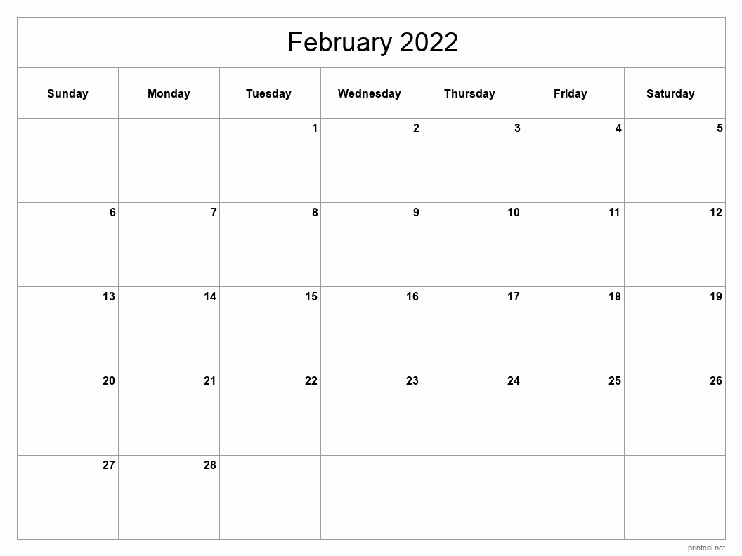 Printable February 2022 Calendar - Template #2 (full-page ...