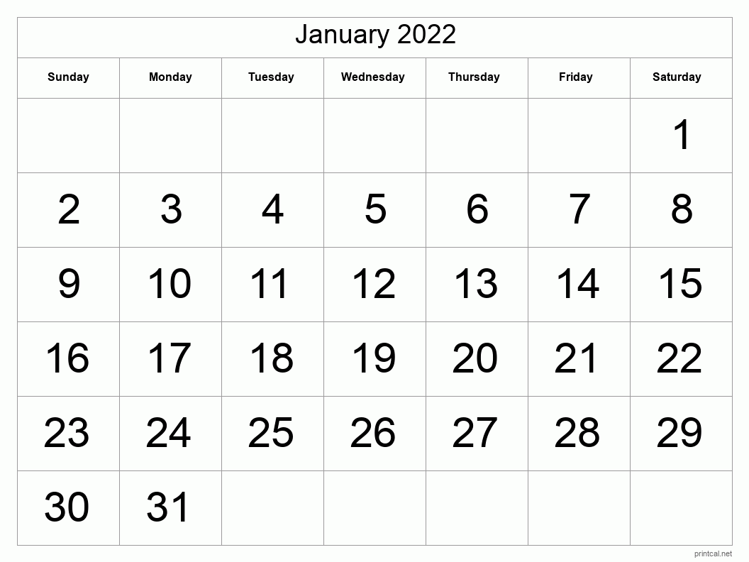 Printable January 2022 Calendar - Template #1 (full-page ...