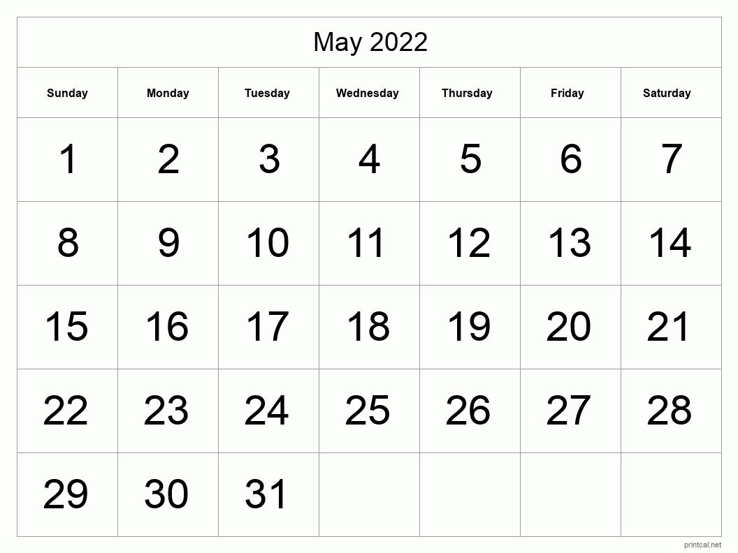 Printable May 2022 Calendar - Template #1 (full-page, tabular)