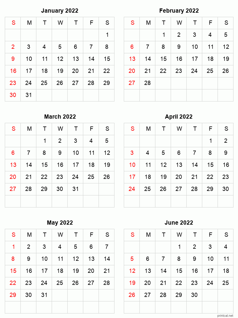 """Each month in a different colour (""""rainbow calendar"""") months horizontally (along the top) days vertically (down the left side) uk version with bank holidays and week numbers. Printable 2022 Calendar - Six Months Per Page   Free ..."""