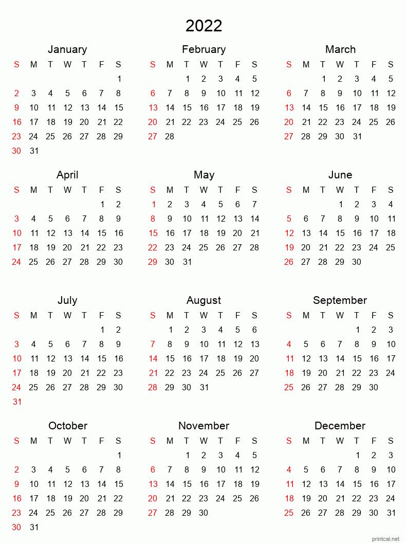 Printable Yearly Calendar 2022, Full-year   Free Printable ...