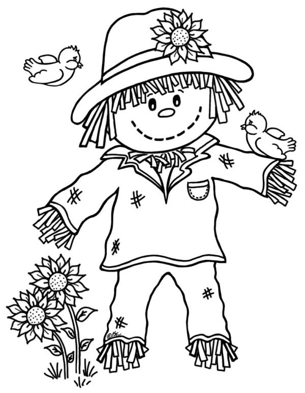 printable scarecrow coloring