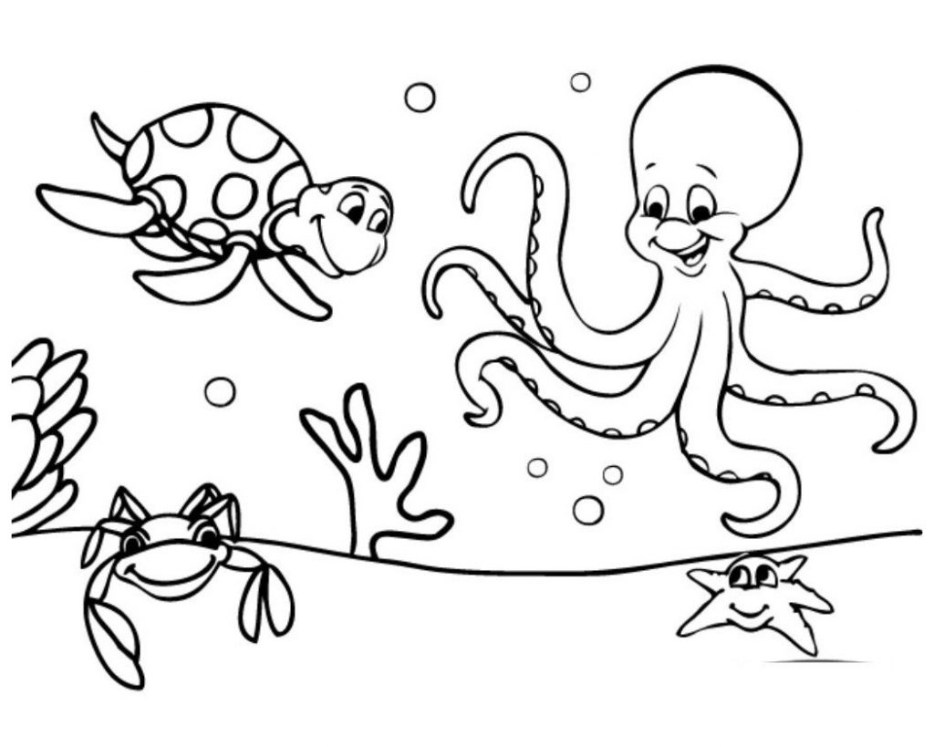 Free Easy To Color Preschool Cute Ocean Animals Coloring
