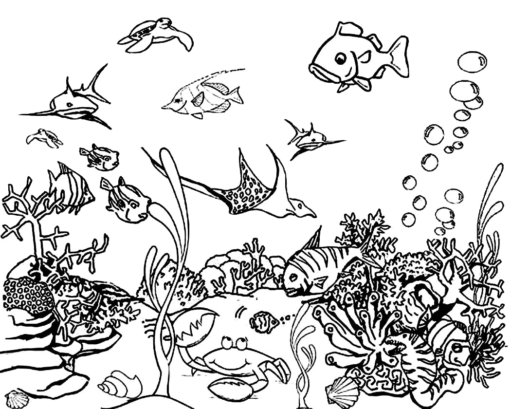 Free Printable Underwater Animals Shark Turtle Manta Ray