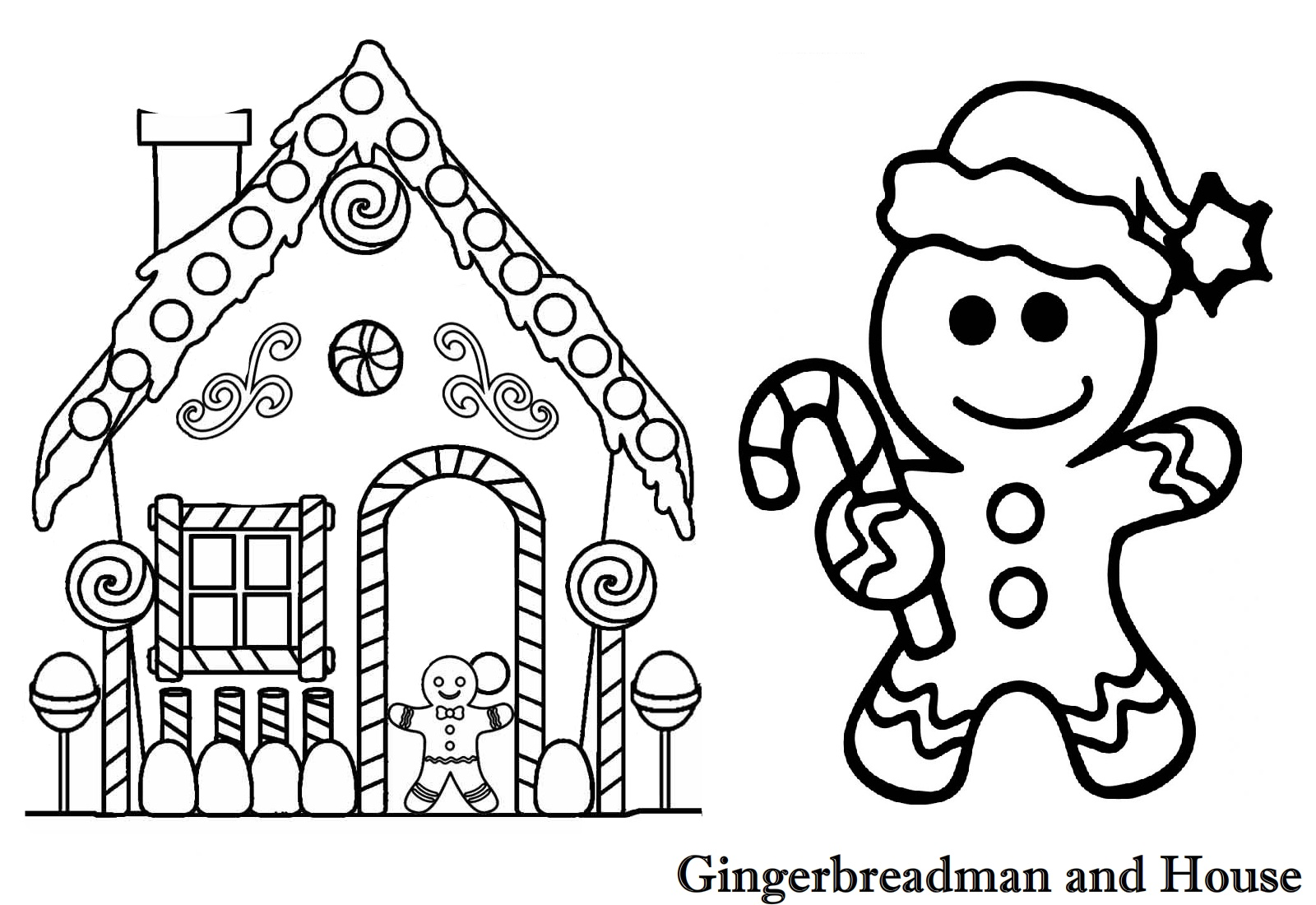 Gingerbreadman And Gingerbreadhouse Chrsitmas Coloring