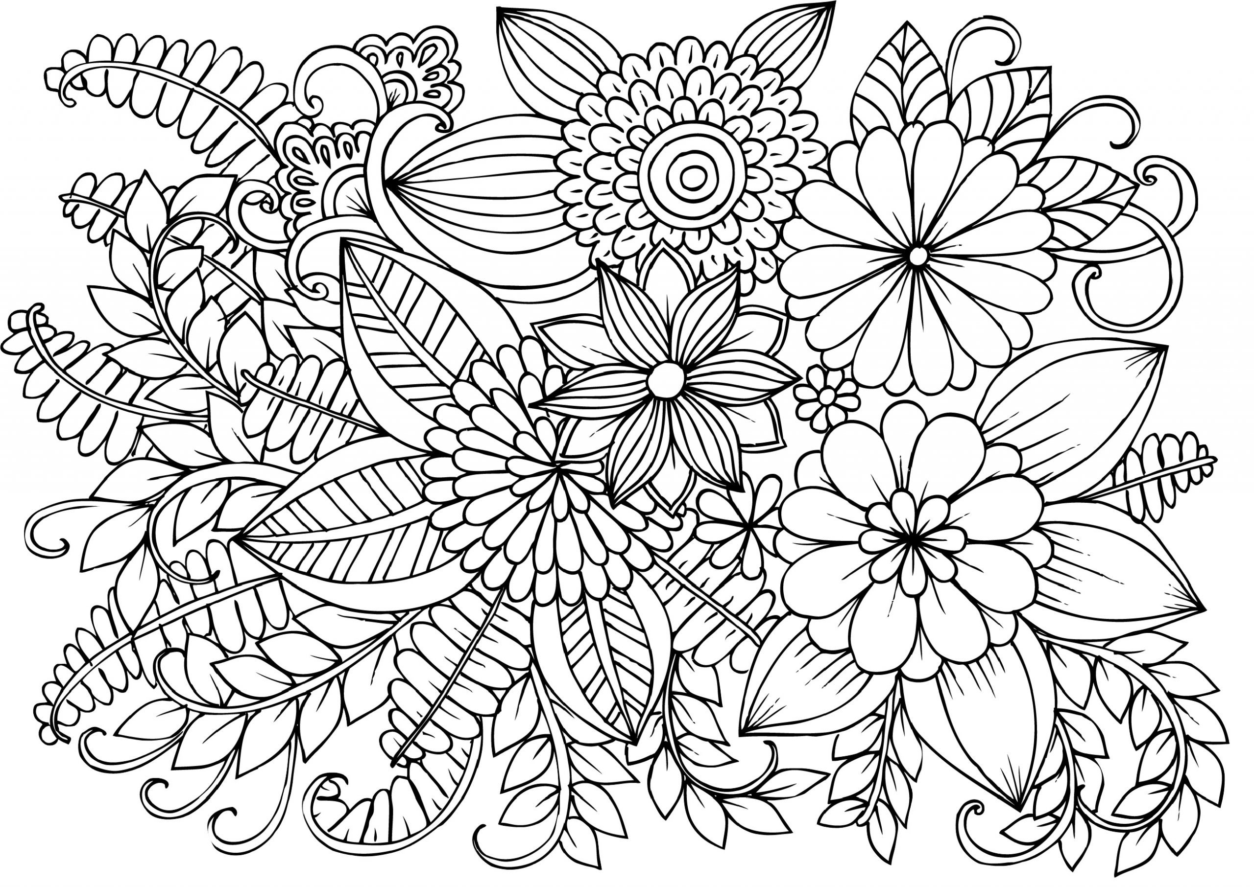 Coloring Pages Flowers Hard Coloring Pages For Kids
