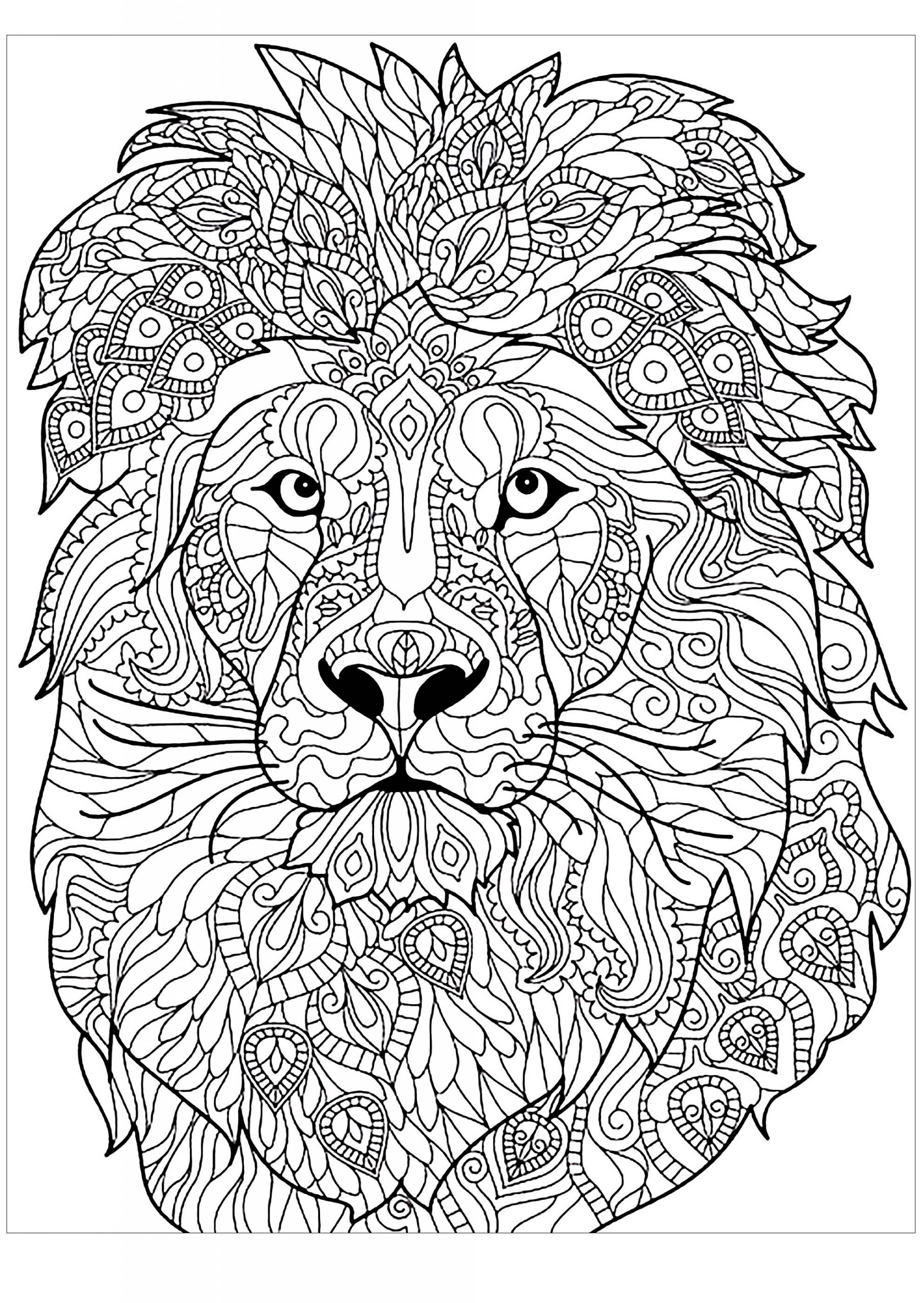 Hard And Difficult Pattern Mandala Lion Coloring Pages