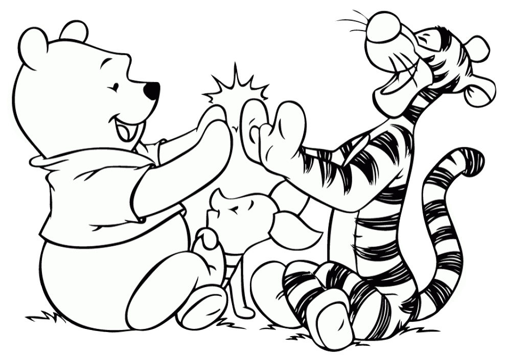 Walt Disney Tigger and Winnie Pooh Playing with Piglet