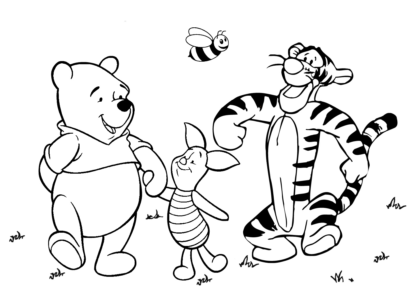 Winnie Pooh Piglet and Tigger on a Long Walk Coloring