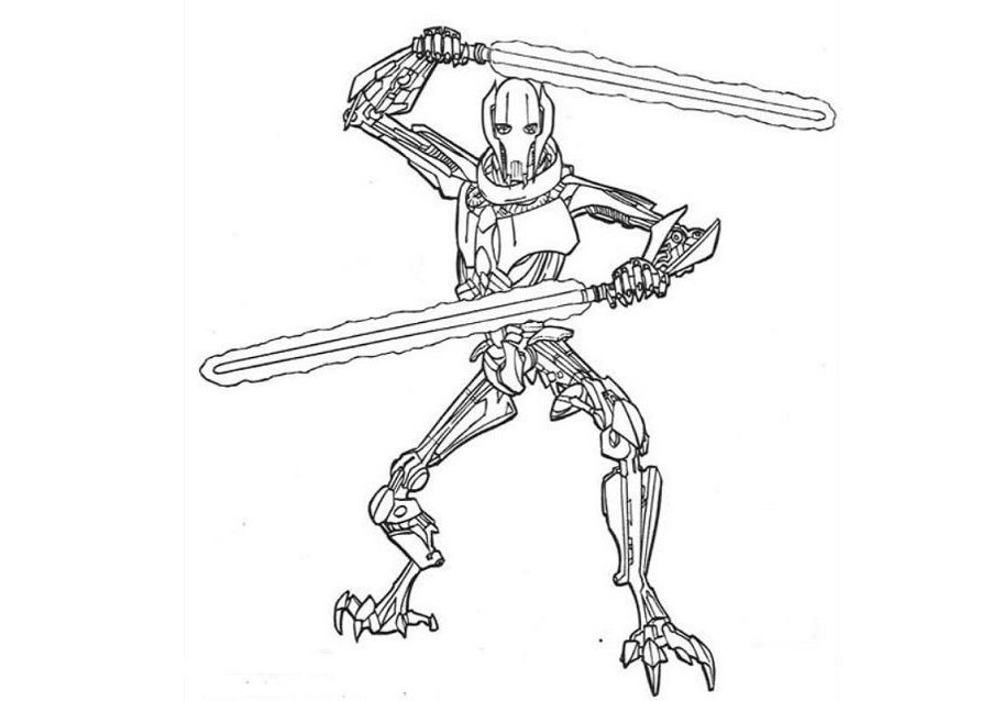 General Grievous Star Wars Coloring Pages Military