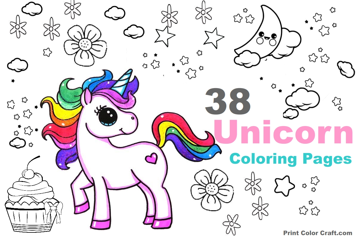 38 Fantasy Unicorn Coloring Pages For Girls Printable