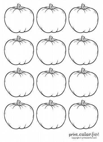 12 Tiny Blank Pumpkins Coloring Page Print Color Fun