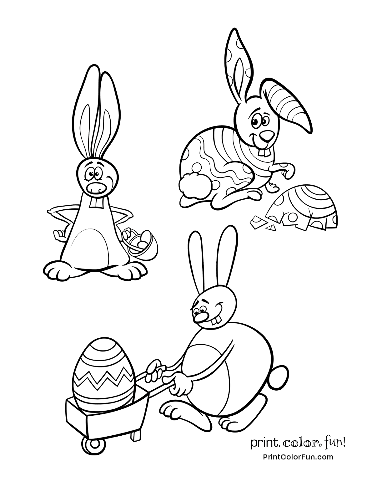 3 silly Easter bunnies to color