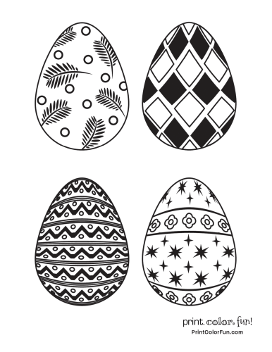 Four eggs with pretty patterns to color