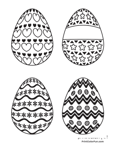 4 patterned Easter eggs to color