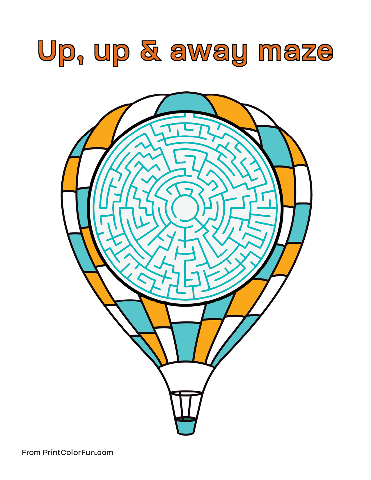 Hot Air Balloon Maze For Kids Coloring Page Print Color
