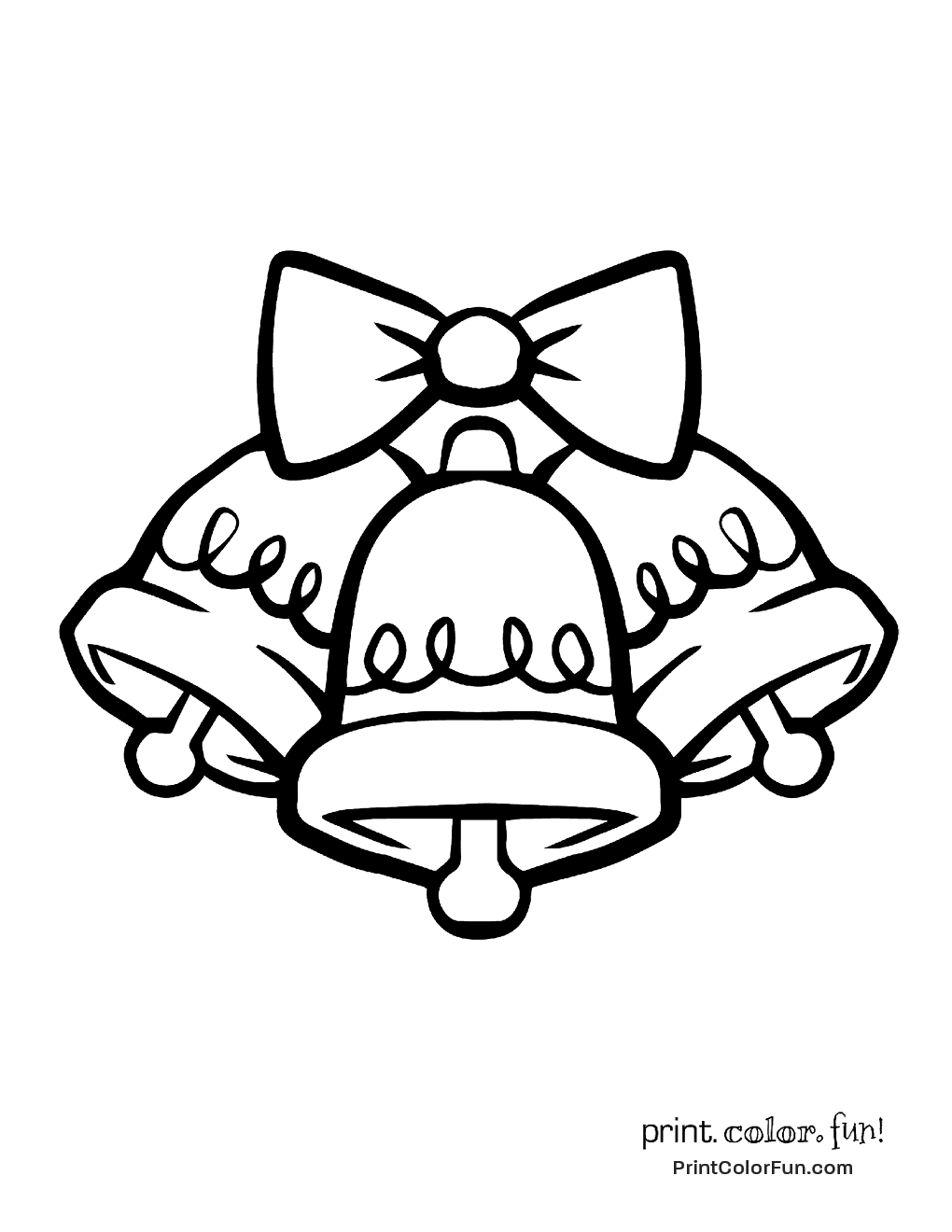 Three Christmas Bells Coloring Page