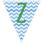 Blue zig-zag party decoration flags with green letters 6