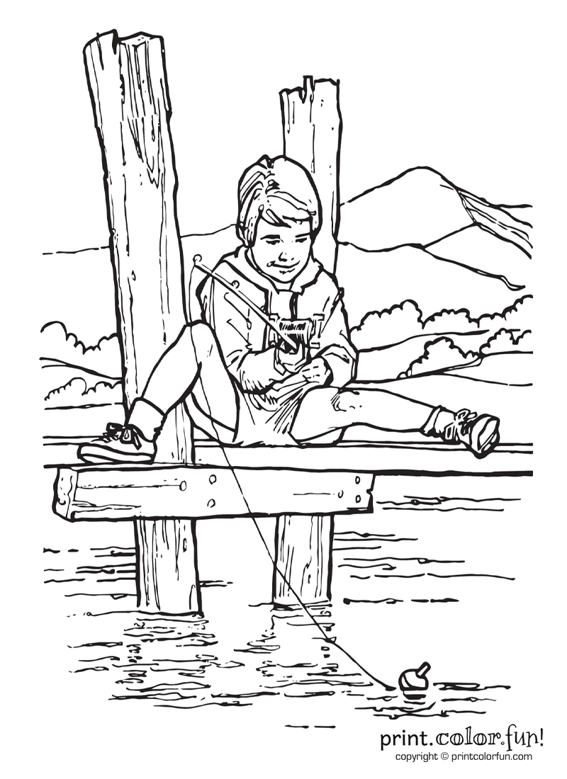 Boy fishing on pier coloring page Print Color Fun