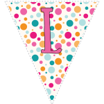 Bright polka dot decoration flags with pink letters 12