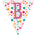 Bright polka dot decoration flags with pink letters 2