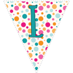 Bright polka dot decoration flags with teal letters 12