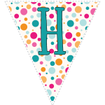 Bright polka dot decoration flags with teal letters 8