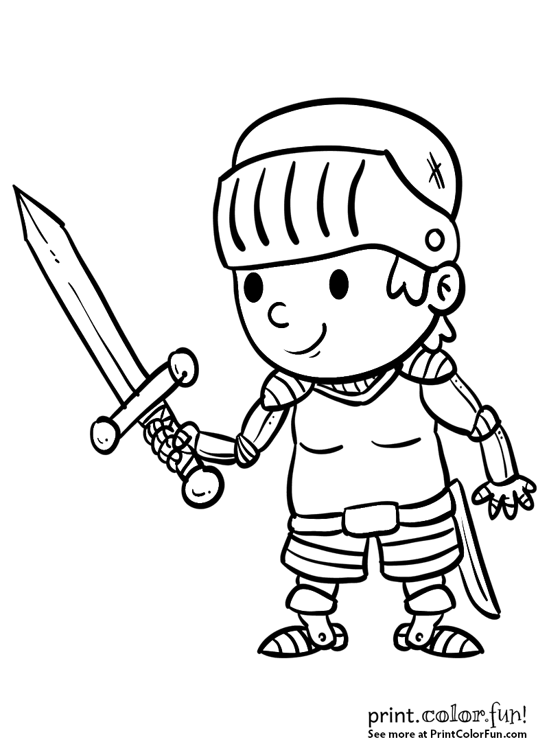 Cartoon boy knight with a sword