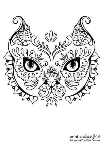 Cat face in exotic design