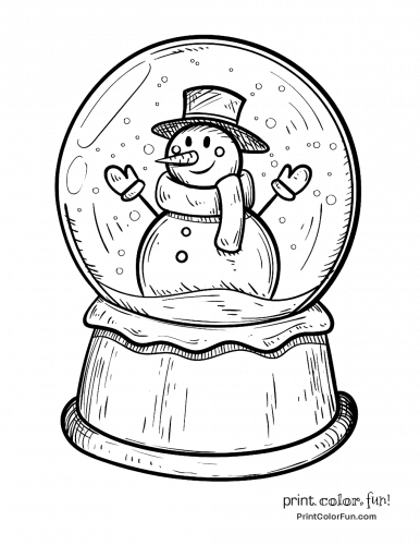 winter snow globe  snowman coloring page  print