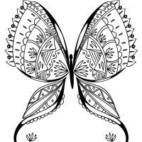 Exotic butterfly coloring page