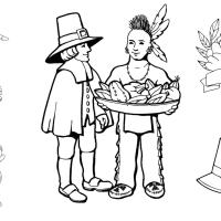 11 free First Thanksgiving coloring pages, with pilgrims and Native Americans