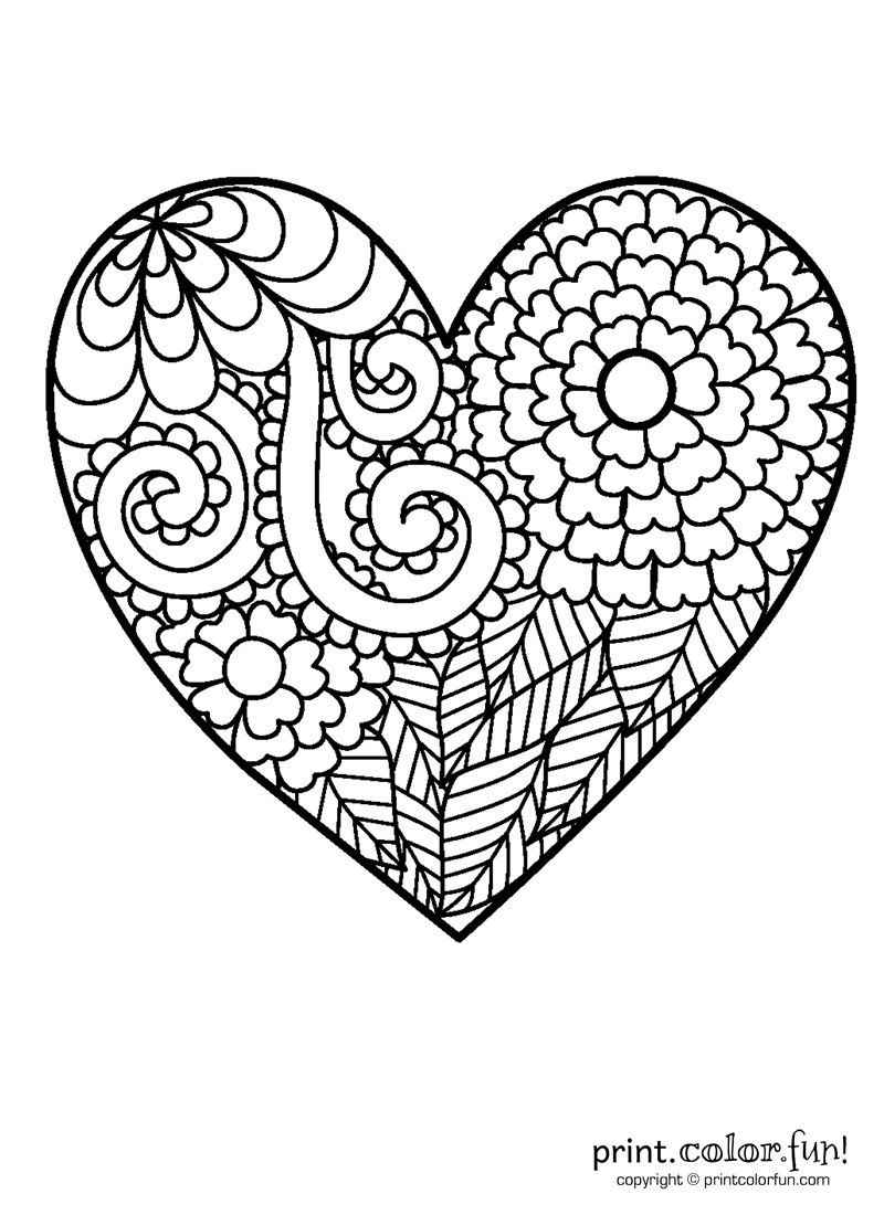 Star of david coloring page print color fun - Flowery Heart Coloring