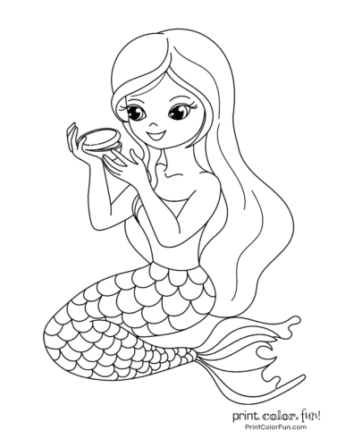 Printable Mermaid Pictures : printable, mermaid, pictures, Mermaid, Coloring, Pages:, Fantasy, Printables, Print., Color.