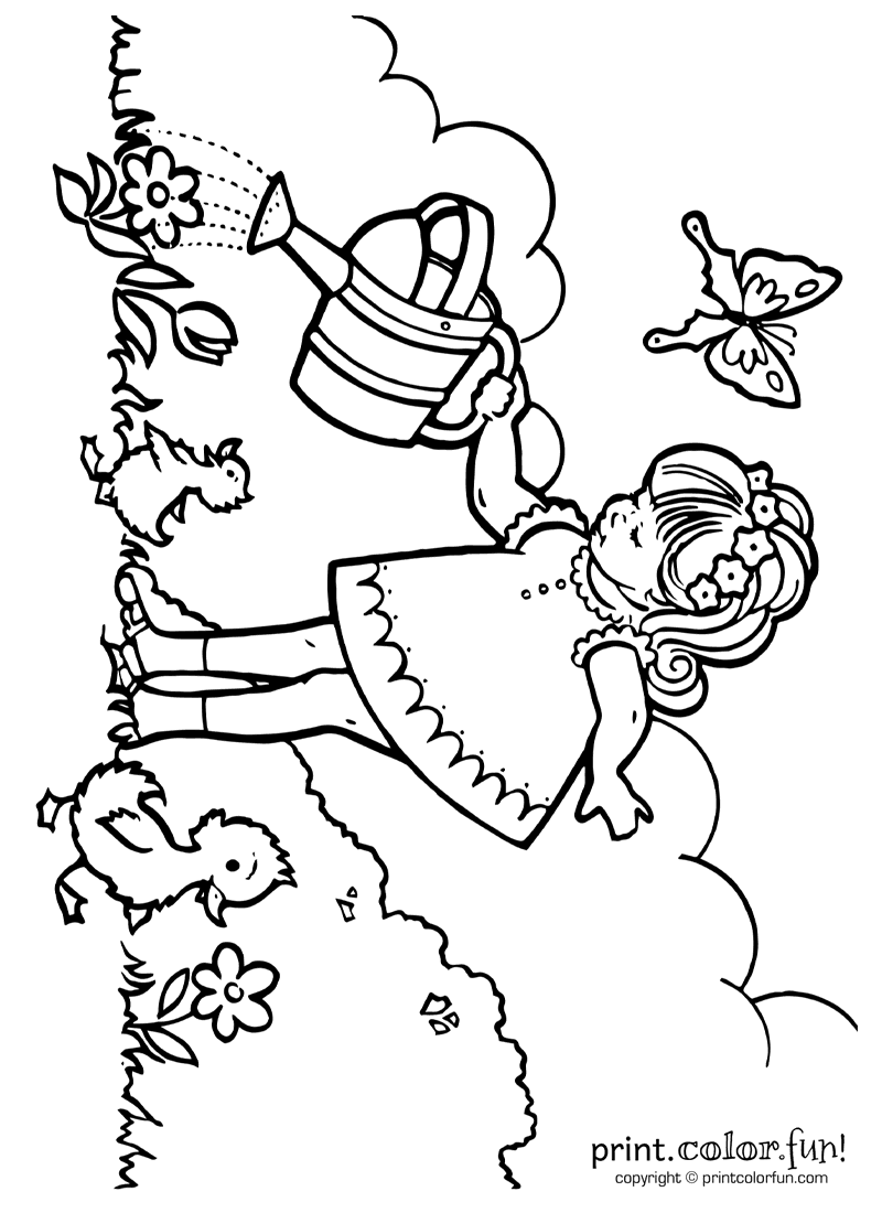 Little girl watering plants coloring page Print Color Fun