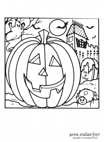 Halloween pumpkin and a haunted house coloring page